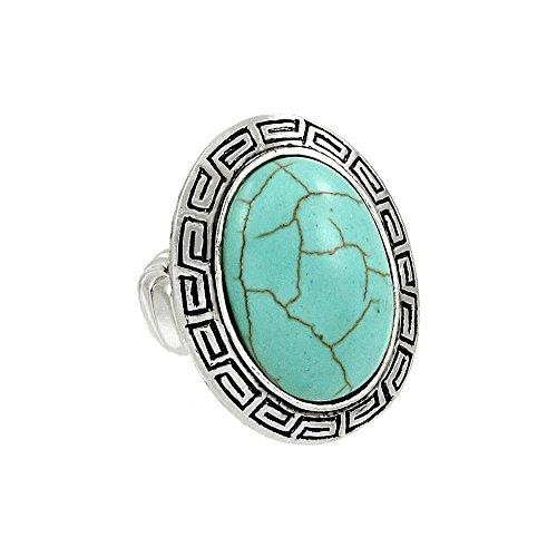 (Falari Natural Gemstone One Size Stretch Ring Turquoise)