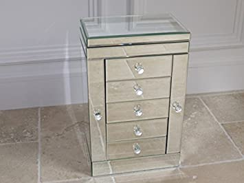 Venetian style MIRRORED JEWELLERY BOX 5 drawers 1 lid 2 winged
