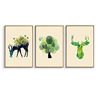 Deer And Nature - 3 Panel Framed Canvas