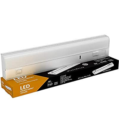 """LED Under Cabinet Lighting - USB Charger, 9 Watt, 18"""" Inch, 3000K or 4000K Switchable, CRI>90, Metal Hard Wired Light, 18in"""