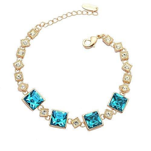 Blue Sapphire Square Bracelet (Gorgeous Clear Cubic Zirconia and Sapphire Blue Crystal Square Link Bracelet 6.3