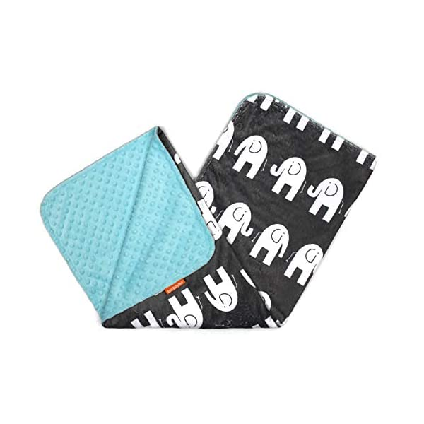 Dear Baby Gear Deluxe Baby Blankets, Custom Minky Print Double Layer White Elephants, Opal Blue Minky Dot, 38 inches by 29 inches