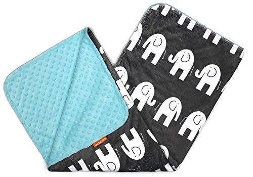 Dear Baby Gear Deluxe Baby Blankets, Custom Minky Print Double Layer White Elephants, Opal Blue Minky Dot, 38 inches by 29 (Double Minky Blanket)