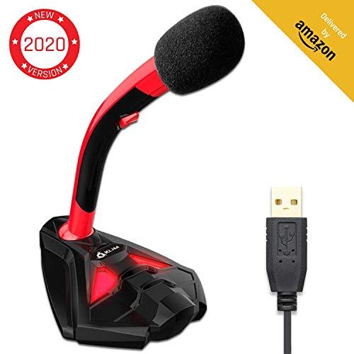 KLIM™ Voice Microfono USB con Base para Ordenador - Micro de Escritorio, Microfono para Jugadores - Rojo y Negro -Nueva Version 2020