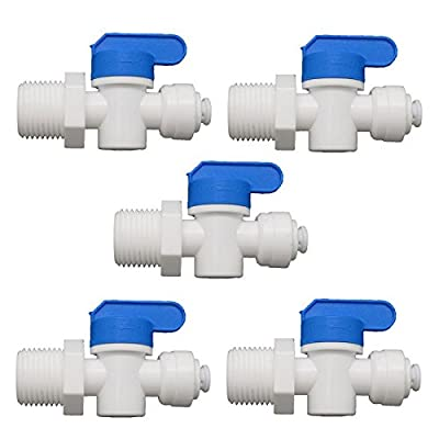 "1/2"" Male Straight 1/4"" OD Tube Ball Valve Quick Connect Aquarium RO Water Pack of 5 by JiuWu"