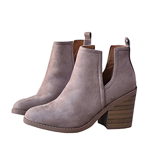 Womens Cutout Chelsea Ankle Boots Slip on Closed Toe Stacked Chunky Block Heel Booties A-light Purple