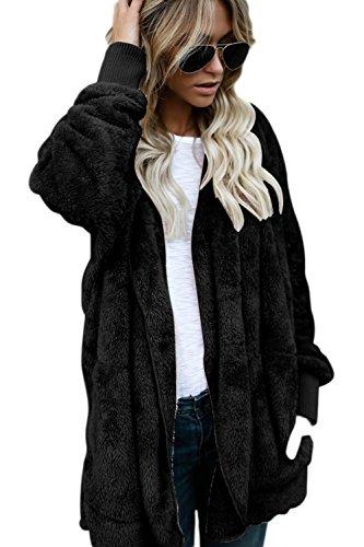 Forrado Frente Chaqueta Capa PARKA Elegantes Abierto Invierno Externa negro Mujeres Las Cálido Espesar Faux Fur xTqFIzSA