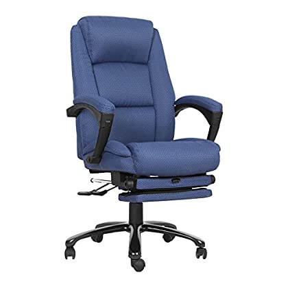 Image of Offex High Back Fabric Executive Reclining Swivel Office Chair with and Padded Armrests, Navy Blue (OFX-447695-FF) Chairs & Sofas