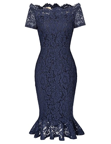 (Women Short Sleeve Off Shoulder Mermaid Lace Bodycon Dress M Navy Blue)