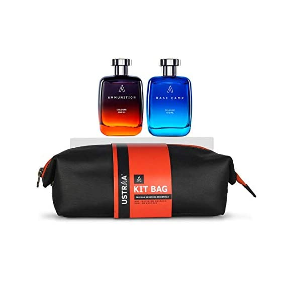 Ustraa Fragrance Pack with free Travel Bag- Cologne Base Camp (100ml) and Cologne Ammunition (100ml)