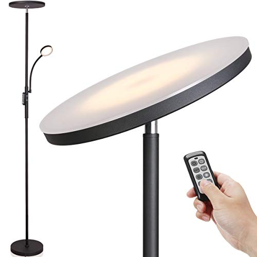 Led Floor Lamp – Soarz Torchiere Floor Lamp with Adjustable Reading Lamp,2000lumens Main Light and 400lumens Side…
