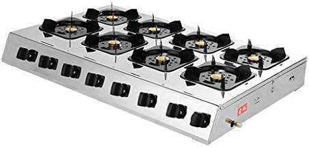 35インチガスコンロ8バーナーガスコンロガスコンロステンレスコンロガスコンロトップLPGガスコンロイオンセンシング保護とクリーニングが簡単