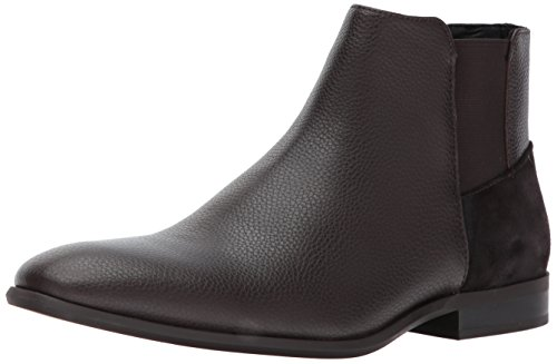 Calvin Klein Men's Larry Tumbled Leather Ankle Bootie, Dark Brown, 11.5 UK/190919402450 M US by Calvin Klein