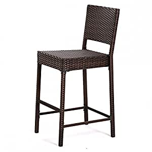 Escort quality outdoor indoor wicker bar stools new brown patio chair furniture for Home bar furniture amazon