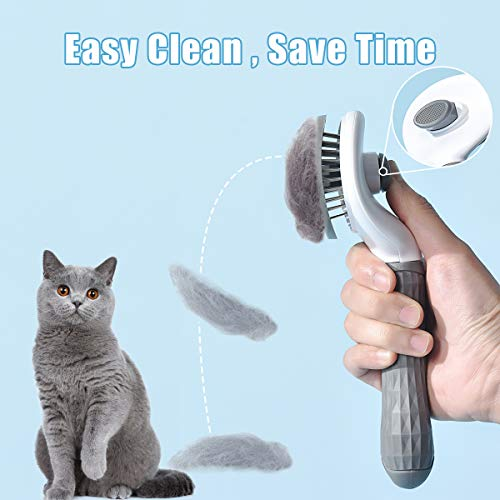 ELSPET Brush for Cat Dog/Shedding Brush with Self-Clean Eject Button/Cat Grooming Brush/Pet Massage Brush, Deshedding Tool for Short and Long Hair, Quick Release Button/Easy to Clean (Gray)