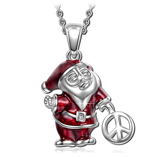 NinaQueen Santa Claus 925 Sterling Silver Pendant Necklace with Peace Sign, Jewelry Gifts for Her Birthday Gift for Women Girl
