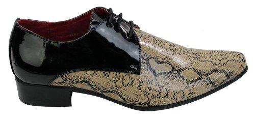 Beige Glänzend italienisches Design Beige Black Imitat Schwarz Schlangenleder Herrenschuhe Schnürsenkel zfn6qf