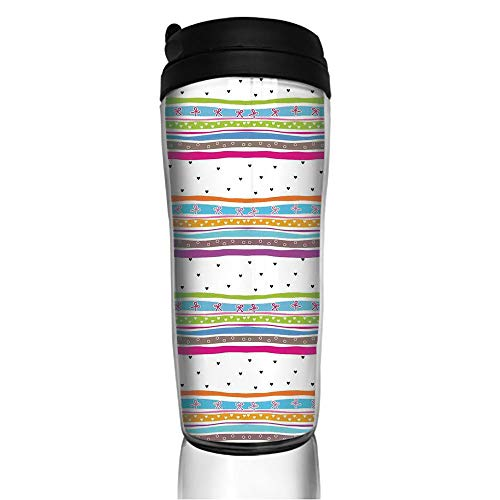Stainless Steel Insulated Coffee Travel Mug,Polkadots Ribbons Bows and Hearts Girly Patterned,Spill Proof Flip Lid Insulated Coffee cup Keeps Hot or Cold 11.8oz(350 ml) Customizable printing (Polka Cups K Dot Cafe)