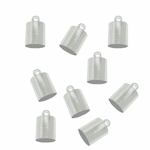 48 Silver Plated Brass Cord End Cap 4x8x4mm, Inside Hole 3.5mm