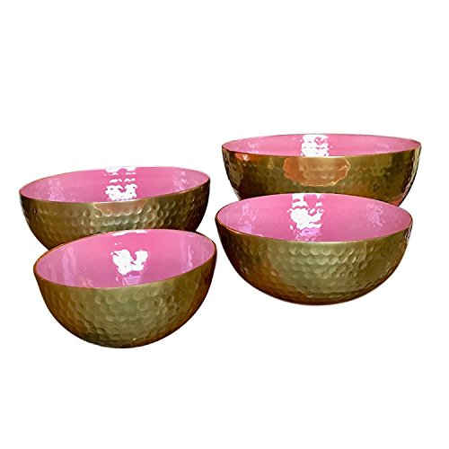 Salmon Pink and Gold Decorative Serving Bowl Set by Kauri Design | Kitchen Bowls for Home Decor, Dry Foods, and Fruit - Mini to Large Set of 4