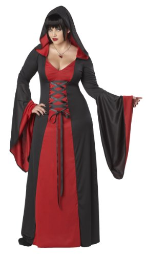 Plus Size Womens Vampire Costumes (California Costumes Plus-Size Deluxe Hooded Robe, Red/black, 2XL (18-20) Costume)