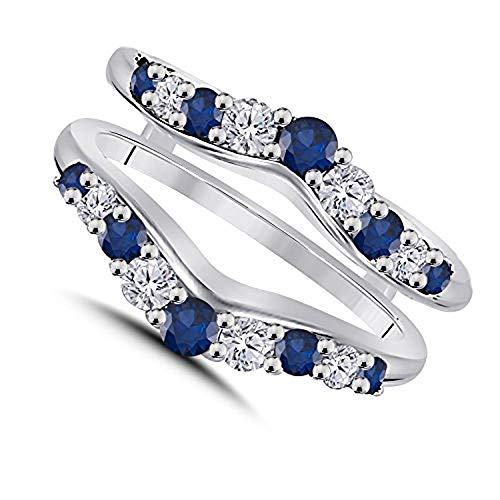 0.50ct Cubic Zirconia & Blue Sapphire Ring Solitaire Enhancer Guard Wrap in 14K White Gold Over 925 Sterling Silver Women Jewelry