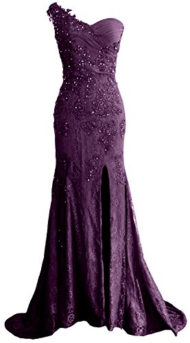 MACloth Women One Shoulder Long Prom Dress Mermaid Lace Wedding Gown Evening (US10, ()