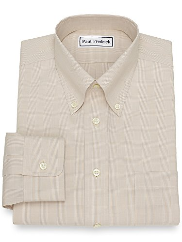Iron Non Paul Fredrick (Paul Fredrick Men's Non-Iron Cotton Glen Plaid Dress Shirt Tan 16.5/37)