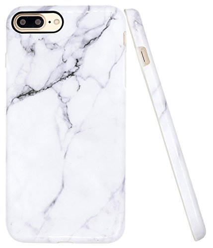 iPhone 8 Plus Marble Case, iPhone 7 Plus Case, A-Focus IMD Design White Marble Pattern Stone Texture Soft Flexible TPU Slim Fit Cover Case for iPhone 7/8 Plus 5.5 - Glossy Gray 2