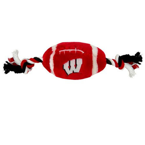 Pets First Collegiate University of Wisconsin Badgers Plush Rope Football Dog Toy