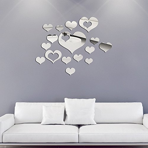 16PCS Mirror Wall Stickers Heart Shape Large Size, Removable Acrylic Mirror Wall Decals Wall Art