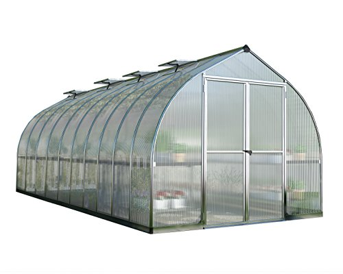 Palram Bella Hobby Greenhouse, 8' x 20', Silver with Twin Wall ()
