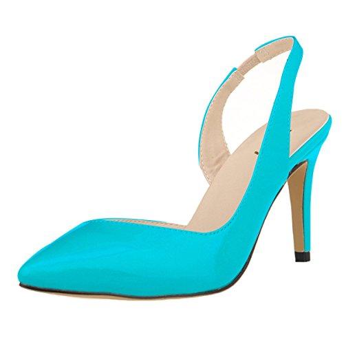 HooH Women's Pointed Toe Slingback Wedding Dress Sandal Blue