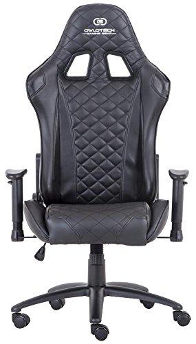 Owlotech Silla para Gaming, Poliuretano, Negro, 33x70x86 cm