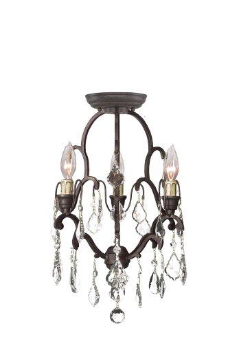 Timeless Elegance Collection 3-Light Bronze Convertible Ceiling Mini - Grace Chandelier Mini
