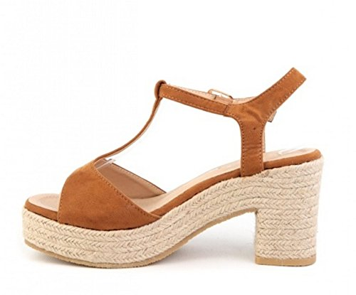 Heel Open Womens Low Block Camel Faux Strap Sandals Ankle T Shoes Bar Espadrille Suede Ladies Slingback Toe O88 P1wrqPv