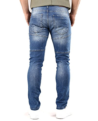 Red Fit Bridge Camuffare Straight Uomo Pantaloni Stretch Blu Mimetica Cagro Hwfq4HBxp