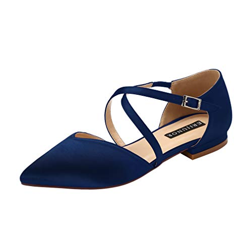 ERIJUNOR E0012 Pointy Toe Flats D-Orsay Low Heel Pumps Satin Wedding Evening Prom Dress Shoes Navy Size -