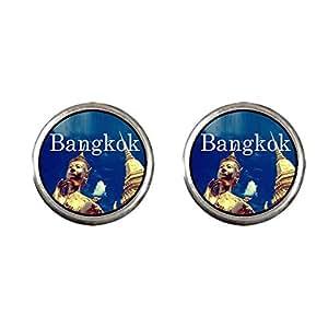 Chicforest Silver Plated Travel Wat Phra Kaew Thailand Photo Stud Earrings 10mm Diameter
