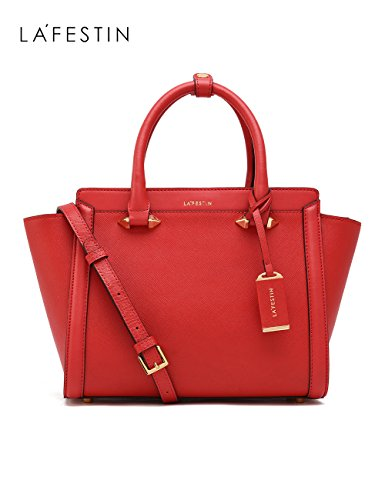 LA'FESTIN Bags for Women 2017 Fashion Big Purses Genuine Leather Top Handle Handbags (Red) Red Leather Purse Handbag