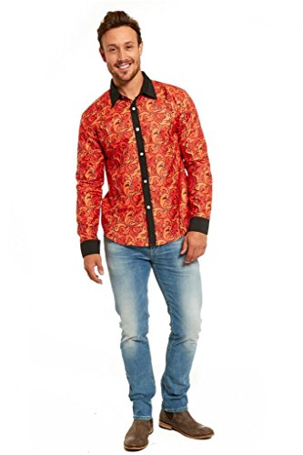 [YOU LOOK UGLY TODAY Men's Halloween Stylish Funny Dress-up Party Shirt Blouse Ghost Orange-Medium] (Where Does Halloween Come From)