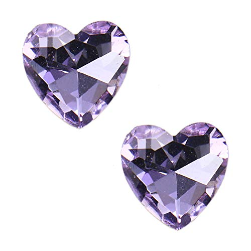 JETEHO 80 Pcs Light Purple Faceted Heart Glass Rhinestones 12mm Pointback Crystal Heart Gemstones Beads Jewels for Crafts Jewelry Making Home Decoration