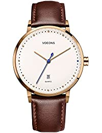 Watch VOEONS Mens Watches On sale Clearance Brown Leather Classical Simple Business Wrist Watch for Men reloj de mujeres