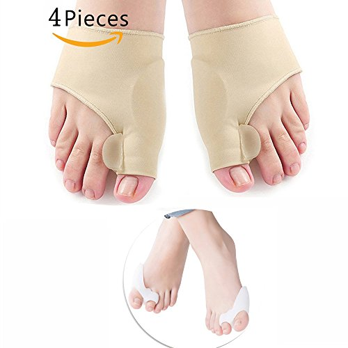 Bunion Corrector and Bunion Relief Protector Sleeves Kit, QICAMNG Toe Separators Spacers splint(4 Piece) - Spacer Sleeve