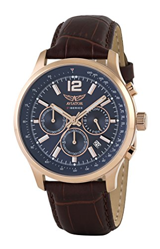 Aviator Pilot Chronograph Watch - Aviator Watch for Men Aviation Classic Quartz Aviators Rose Gold Case Waterproof 5 Atm Pilot Chronograph