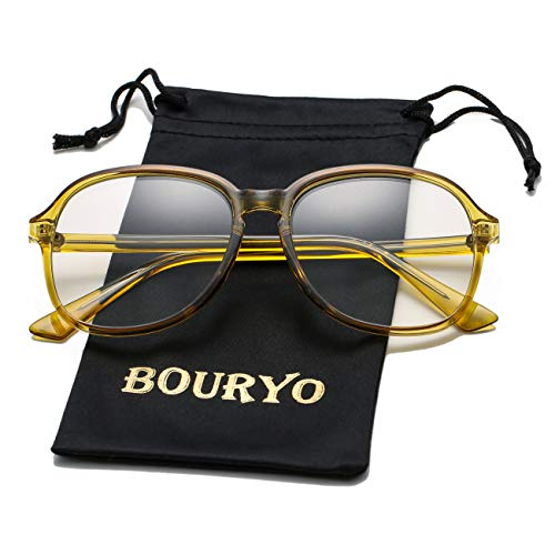 - BOURYO Unisex Stylish Non-prescription Glasses Square Candy Colored Frame Clear Lens Hip Hop Eyeglasses(Yellow)