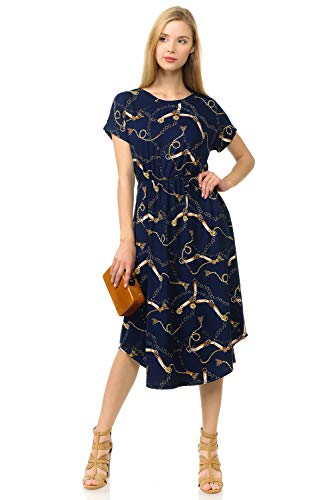 - iconic luxe Women's Short Sleeve Flare Midi Dress with Pockets Medium Chain Print Navy