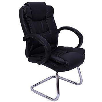 81f91dc27441b9 Fauteuil chaise de bureau sans roulette ergonomique en cuir noir BUR04030