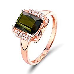 Rose Gold With Green Tourmaline Diamond Ring
