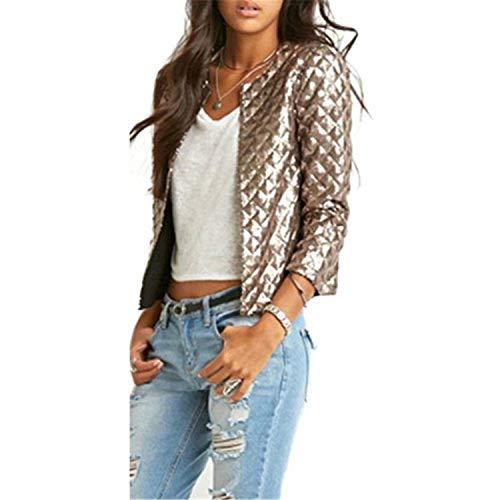 Coated Biker Style Jacket - Women Lozenge Sequins Slim Bomber Jacket Vintage Zip Up Biker Stylish Padded So